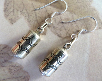 Sterling Cylinder Drop Earrings With Etched Design-Sale Jewelry