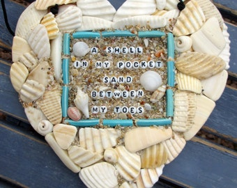 A Shell in my Pocket...Beach Mosaic Heart hanging with Shells, tumbled shards, china
