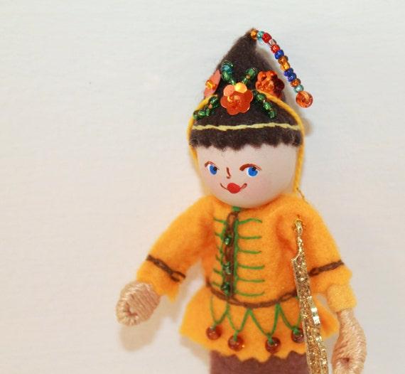 Felt Art Doll Elf Playing Guitar