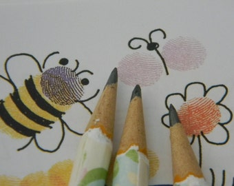 Hand wrapped mini pencils Butterfly set