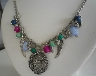 SALE Cluster Silver Pendants and Colorful Beads with Locket  Necklace and Earrings