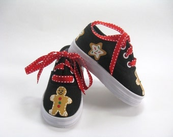 Christmas Cookie Shoes, Gingerbread Man Sneakers, Christmas Outfit, Christmas Party Shoes, Cookie Theme, Hand painted for Baby and Toddlers
