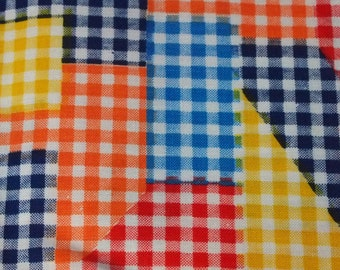 SALE vintage 70s cotton print fabric, featuring great gingham faux patchwork print, 1 yard, 3 available priced PER YARD