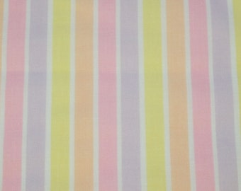 SALE vintage 80s pastel stripe cotton print, 1 yard, 2 available priced PER YARD
