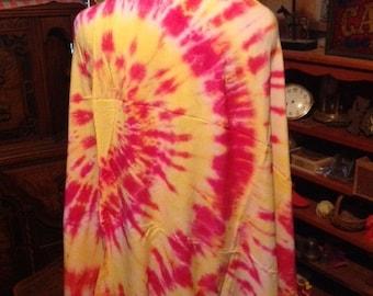 Spiral Tie Dye Sarong, Yellow, Red, Magenta