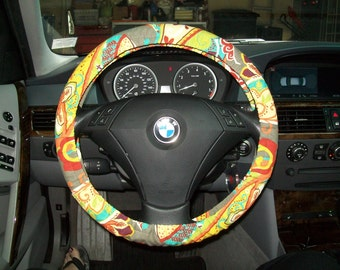 Fun Fall Floral  Steering Wheel Cover