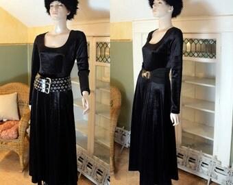vintage 80s 90s black velvet maxi dress minimalist long glam goth grunge gothic dark mori ritual pagan witch boho festival INC US SHIPPING