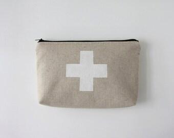 White Swiss Cross Linen Pouch