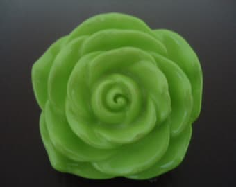 Discount Special : 45mm Light Apple Green Resin Rose Flower Beads (2x)