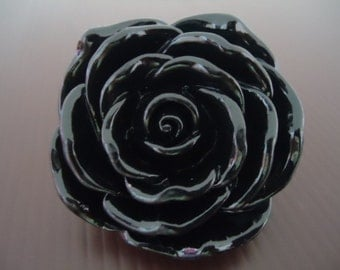 Discount Special : 45mm BLACK Resin Rose Flower Beads (2x)