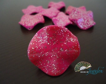 Glitter Acrylic Wavy Bead, HOT PINK with Silver Glitter - 9x