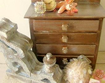 Doll Dresser, Knobs Adorned w/ Rhinestones Vintage Wooden Picket Fence Back Silver Gold Metallic