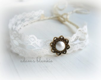Vintage Whip - Open Halo Headband Wrap Tie Back - Bronze Gold Cream Button Lace - Newborn Baby Girl Infant Adults - Photo Prop