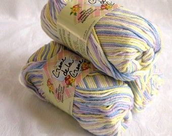Combed Cotton Yarn, SNOW VIOLET Ombre, mauve blue yellow white worsted weight yarn, variegated yarn
