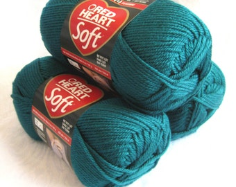 Red Heart Soft yarn, TEAL blue yarn,  medium worsted weight soft acrylic yarn