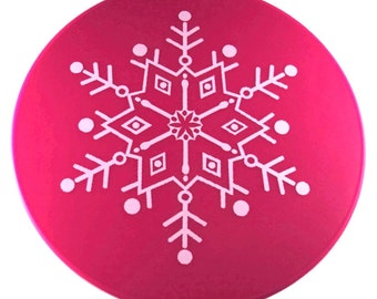 Megenta Snowflake Table Placemat, Kitchen Hot Pad, Table Trivet, Table Decor, Kitchen Decor