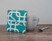 Turquoise Coasters Fabric Coasters Teal Coasters Decorative Coasters