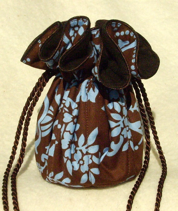 Anti tarnish jewelry bag pouch in brown and light periwinkle for Anti tarnish jewelry bags