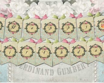 Instant Download  Happy Birthday Banner  Garland No 3B6- Shabby Banner - Printable - Digital - High Quality Images