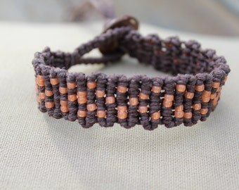 Hemp Macrame Bracelet Brown and Orange - Modern - Natural Bohemian