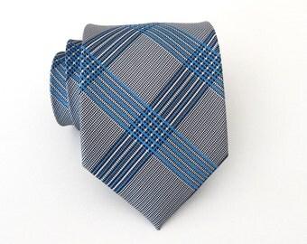 Mens Ties Necktie Black White Blue Plaid Mens Tie