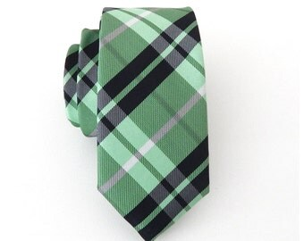 Necktie Green and Navy Blue Plaid Mens Skinny Tie
