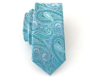 Mens Tie Turquoise Paisley Skinny Necktie