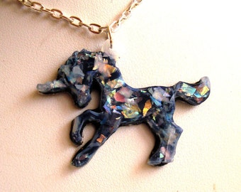 Glitter Unicorn Necklace Opal Unicorn Necklace Hologram Opalescent Unicorn Pendant Kawaii Necklace Kawaii Jewelry