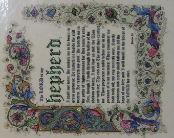 The Lord is my Shepherd [Psalm 23] - Illuminated Calligraphy Laminated Print - Small
