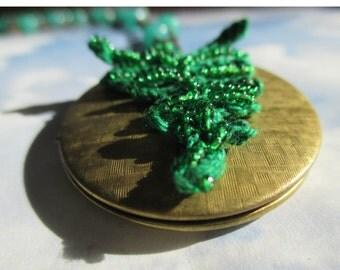 Woodland Fern on vintage brass locket comes with velvet ribbon or beaded chain you choose crochet fern