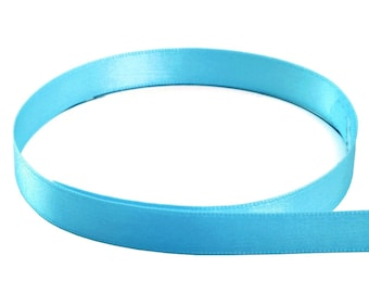 "20 Yard roll 1/4"" Double Face USA Satin Ribbon TURQUOISE"