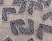 13 Triangle V Shape Charms 24mm Wide Silver Plated Destash SALE Britz Beads Supply