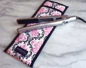 Flat Iron Case/Curling Iron Travel Cover, Damask, Pink/Black/White - In Stock Ready To Ship