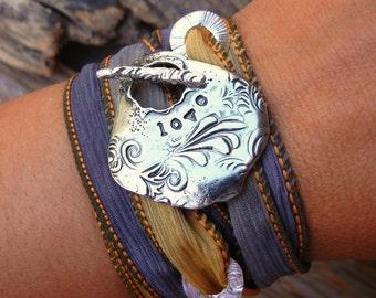 Silk Wrap Bracelet, Silk Wrap Bracelet Gift for Her, STERLING SILVER Silk Wrap Bracelet, LOVE Silk Wrap Bracelet, Wrap Bracelet Womens Gift
