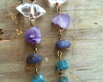 Raw Gemstone Dangle Earrings Shoulder Dusters Long Earrings Rustic Jewelry Daniellerosebean Long Gemstone Earrings