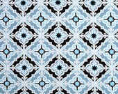 Clearance Premier Prints Harford Regatta- Fabric by the Yard - Home Decorating Fabric Blue Fabric Moroccan Tiles