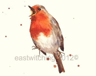 BIRD Art Prints, robin bird, Red ROBIN,Christmas decor