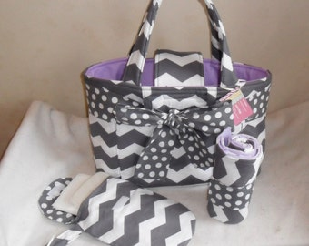 Large Gray Chevron with Polka Dot Sash Diaper Bag Set with Changing Mat and Diaper Clutch