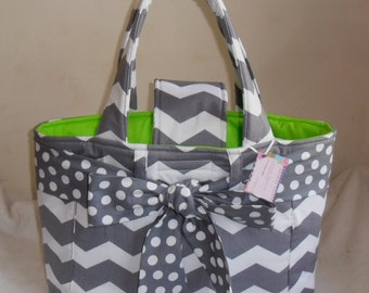 Large Gray Chevron with Polka Dot Bow and Lime Green Interior Diaper Bag Tote CHOICE OF INTERIOR