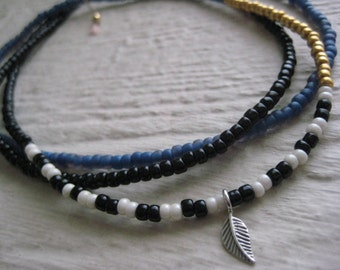 Leaf Bead Necklace- Blue, Gold, Black, Ivory, Sterling Silver, Charm, Cord, Glass Seed Beads, Boho