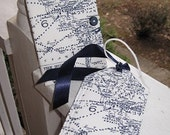 Passport cover/ luggage tag/Map/white and navy