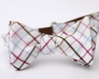 plum & taupe freestyle bow tie