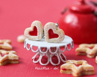 Strawberry Heart Cookie Earrings, Miniature Food Love