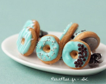 Mint Donut Earrings, Miniature Food Jewelry, Donut Collection