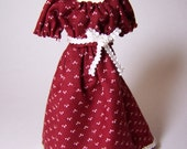 Red Regency dress on mannequin - 12th scale miniature fashion by CWPoppets