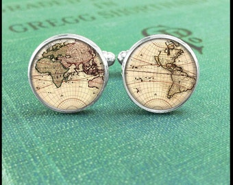 World Map Cufflinks, Map Cuff Links, Globe Cufflinks, Cufflinks for Men, World Map Cuff Links, Gift for Him, Men Accessories, Boyfriend Gift