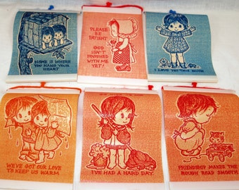 Lot of 6 1970's Vintage Wall Hanging Decorative Quotes Plastic Plaques Sayings Kitsch