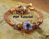 Lavender Rose Viking Knit Bracelet Tutorial, Lampwork Beaded Tutorial,  Viking Knit Tutorial SRA 199 by CC Design