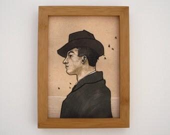 framed portrait giclée print 5x7