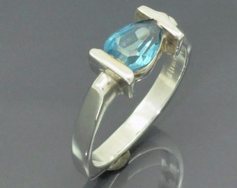 Pear Shape Blue Topaz Transversely Mounted in Sterling Silver Ring